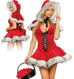 Wholesale Dress Red Riding Hood - Sexy Little Red Riding Hood Ladies Uniforms Costume Cosplay Exotic Apparel Women Clubwear Mini Dress Cloak Gloves Free shipping