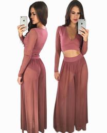 Wholesale Pink Transparent Dress Women - 2017 High quality Dark V Neck Sexy fashion new Europe dress pink transparent dress two-piece long sleeve shirt + wide-legged pants