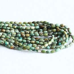 """Wholesale Small Green Beads - Natural Genuine Green Blue Africa Turquoise Rice Oval Small Beads Fit Jewelry 15.5"""" 05285"""