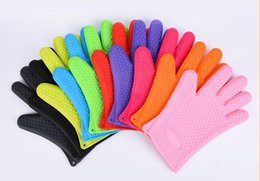 Wholesale oven mitt gloves - Heat Resistant Silicone Insulated Glove Cooking Baking BBQ Oven Pot Holder Mitt Kitchen tool more colorful