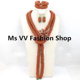 Braccialetto d'argento rosso corallo online-corallo rosso verde africana sposa gioielli da donna con spilla indiano partito collana orecchini braccialetto Set gioielli in argento per corone di nozze