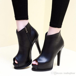 Wholesale Sexy Spring Heels - Spring 2016 sexy black leather ankle boots peep toe thin high heel platform shoes women PU size 34 to 39