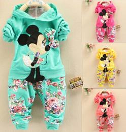 Wholesale Minnie Mouse Pants - HOT Spring Autumn Baby Girls Christmas Outfits Sport Suit Clothing Set Children Hoodies Pants Kids Minnie Mouse Clothes Sets