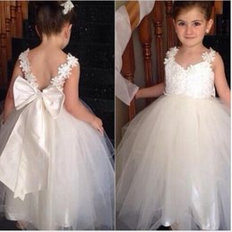 Wholesale Cheap Vest Wrap - Flower Girls Dresses with Straps Sweetheart Wedding Bridal Daughter's Princess Gowns Little Bride Cheap Flower Girls' Dresses with Bow F76