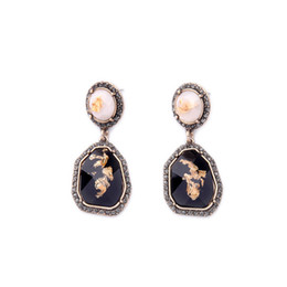 Wholesale Craft Crystal Gem Stones - 2016 Black Bevel Crafted Stone Earrings Geometric Pattern Gem Earring Pave Edge Antique Gold for Lady Free Shipping