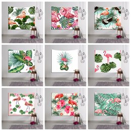 Wholesale Indian Style Decor - Flamingo Printed Tapestry 150*130cm Mandala Indian Wall Hanging Decor Bohemian Bedspread Throw Yoga Mat Wall Carpet 15 Styles OOA2573