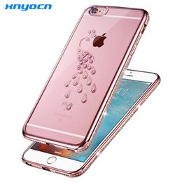 Wholesale Luxury Iphone Cover Peacock - Luxury Rhinestone Case For iphone 6s 6 plus Soft Thin TPU Shell Peacock Swan Crystal Diamond Fashion cover For iphone6 6S Plus