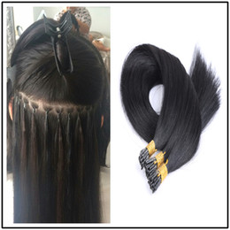 Wholesale Extention Human Hair Indian - PreBonded I Tip Hair Extensions Keratin Human Straight Stick Hair Extention 100g(1g strand 100g lot)
