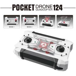 Wholesale Wholesale 4ch Rc Helicopter - 2017 New RC Drone Pocket Drone 4CH 6 Axis Gyro Quadcopter RTF RC Helicopter Toys FQ777-124 FQ777 124 Drones Dron Kids Xmas Gifts