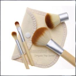 Wholesale Wholesale Linen Makeup Bags - 4PCS Natural Bamboo Handle Makeup Brushes Set Cosmetics Tools Kit Powder Blush Brushes with Hemp linen bag