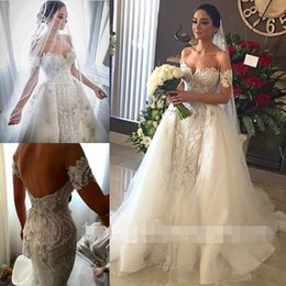 Wholesale Exquisite Wedding Dress Off Shoulder - 2017 Fashion Gorgeous Off The Shoulder Mermaid Wedding Dresses Exquisite Appliques With Detachable Train Bridal Gown Custom Made