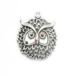Wholesale Gold Plated Owl Bracelet - 5pcs Antique Silver Plated Owl Charms Pendants for Bracelet Jewelry Making DIY Necklace Craft 48x38mm