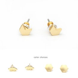 Wholesale Triangle Metal Studs Gold - Geometric Stud Earrings for women girls silver & gold plated triangle round earrings New fashion metal multi-shapes stud earrings jewelry