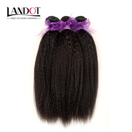 Wholesale Afro Kinky Human Hair Extensions - Brazilian Kinky Straight Human Hair Weave Bundles 7A Unprocessed Peruvian Malaysian Indian Italian Coarse Afro Yaki Straight Hair Extensions