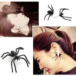 Wholesale Black Spider Costume - New Cosplay toys for kids Punk Halloween Black Spider Charm Ear Stud Earrings Evening Gift For Party Halloween Costume Novelty Toys