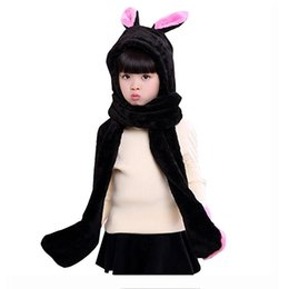Wholesale Pink Animal Hood - Kids Winter Warm Fleece Rabbit Hood Scarf 3 in 1 Gloves Earflap Hat Animal Long Scarf for Children 5pcs lot