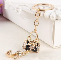 Wholesale Ladies Purse Hangers - Spot creative ladies high heels butterfly bag crystal key ring pendant pendant car diamond purse beautifully