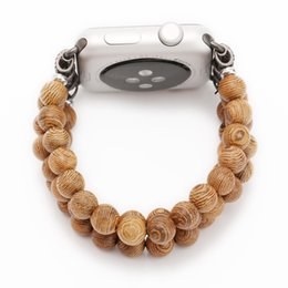 Wholesale natural bamboo beads - Top New Retro Handmade Natural Bamboo Wooden Beads Band for Iwatch Series 1 2 3 Bracelet for Apple Watch 38mm 42mm Watchband