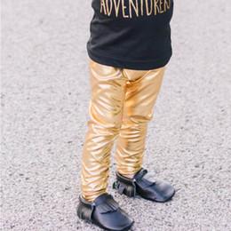 Wholesale Kids Fashion Leather Leggings - XMAS INS Baby Boys Girls Pants Winter Infant Fashion Full Length Girls Leggings Faux Leather Gilding Skinny Kids Pants Gold Silver Black