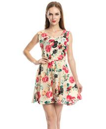 Wholesale Hot Pink Pencil Dress - New Hot Good Selling Ladies Women Casual Fashion Summer Flower Printed Chiffon Sleeveless Big Swing Summer Dress 2292