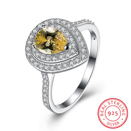 Wholesale Citrine Sets - Wedding Ring 925 Sterling Silver Cubic Zirconia Teardrop Yellow Citrine Outstanding Fine Jewelry Christmas Gifts Size 8 SVR150
