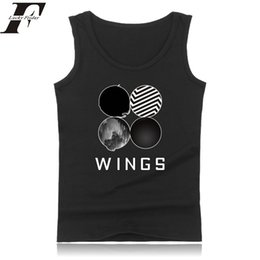 Wholesale Wholesale Women Korean Vest - Wholesale- 2017 Hip Hop kpop Bts Sleeveless fitness bodybuilding Tank Tops Men women Summer Wings Kpop fitnes Tank Top Korean 4XL Vest