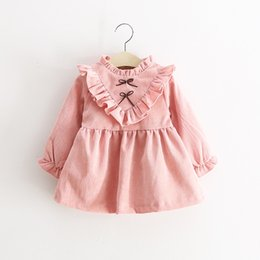 Wholesale Infant Long Sleeve Dresses - Autumn Baby Girl Dress Casual Long Sleeve Princess Dresses Infant 1 Year Baby Girl Clothing Kids Costume Clothes