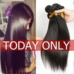 lula cabello humano Rebajas Alimice Hair Human Bundles Tejido brasileño de cabello lacio 3 piezas solo 8-34 pulgadas Natural Black Remy Hair Envío gratis