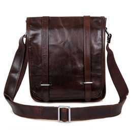 Wholesale Vintage Leather Satchels For Men - Men's Genuine leather Vintage Crossbody Satchel Bag Casual Shoulder Bag Fit for Ipad Chocolate Color 7109C