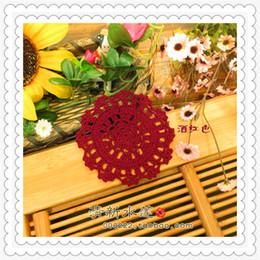 """Coreano tabela decorações on-line-50 pcs 3.5 """"coreano tecido de renda de crochê cupholder como antiderrapante utensílios de mesa para decoração de mesa de jantar como novidade casa para venda"""