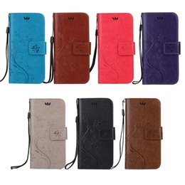 Wholesale Silicone Butterfly Iphone Cases - Retro Flip PU Leather Cover Case Embossed Flowers Butterfly For iphone Samsung Sony Huawei MOTO LG HTC smartphone wholesale