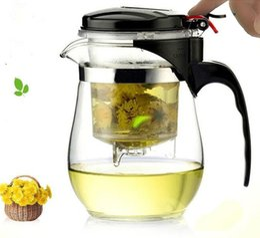 Wholesale Kettle Sets - 500ml Heat Resistant Glass Teapot Chinese kung fu Tea Set Puer Kettle Coffee Glass Maker Convenient Office Tea Pot