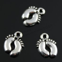 Wholesale baby foot charms - Wholesale-120pcs lot 13*10mm 2 colors antique silver, antique bronze cute baby feet charms
