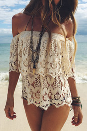 Wholesale Short Sleeve Crochet Top - 2016052414 2016 Sexy Slash Neck Women Tops Tees Off Shoulder Blouse Beach Summer Style Tops Women Blouses Crochet Shirt Party Tube Top