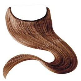 Wholesale 18 Loop Extensions - Flip in Human Hair Indian Human Hair Extensions halo Human Hair Extensions No Clips No Glue Easy to Wear Straight Halo Hair