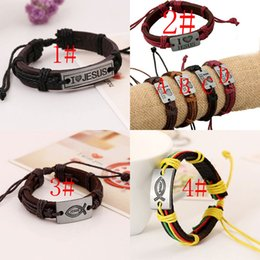 Wholesale Love Jesus Jewelry Free - 4 styles NEW Christian Religious Jewelry I love Jesus alloy leather bracelets wholesale Valentine's Day Gift free shipping