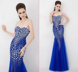 Wholesale Sweetheart European Prom Dress - Sweetheart Elegant New Style Fashion Crystal Beads Red Blue Prom Dress Mermaid Orange Customized Attractive Women Gown European Design