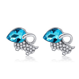 Wholesale Gold Blue Gem Earring - Cute Animal Kids Jewelry Blue Gem Clear Crystal Cluster Sheep 18K White Gold Plated Stud Earrings for Children Girls Wholesales