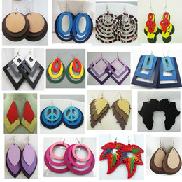 Wholesale Dangle Mix - Fashion Ladies Womens Mixed styles Wooden Wood Water Drop Hoop Leaves Earrings Free Shipping Wholesale Promotion