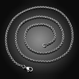 Wholesale Vintage Mexican Silver Necklace - 2MM 316L Stainless Steel Chain Men Jewelry Vintage Stainless Steel Chains Punk Distribution Link Chain Men Necklace C001-18