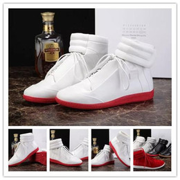 Wholesale Mens West - Maison Martin Margiela MMM Kanye West Future Genuine Leather Fashion Mens Shoes High Tops Red Bottoms Casual Moccasin Flat Shoes Sneakers