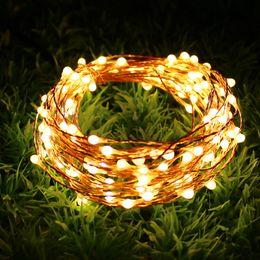 Corda luz led ao ar livre 12v on-line-Cobre Levou luz Da Corda 10 M 100 LED interior ao ar livre À Prova D 'Água Fada Luz DC12V festival decoração da festa de natal luz