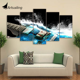 Wholesale Guitar Abstract Painting Canvas - 5 Pieces Canvas Art Painting Printed Abstract guitar Wall Art Print Canvas Painting Home Decor For Living Room CU-1386A