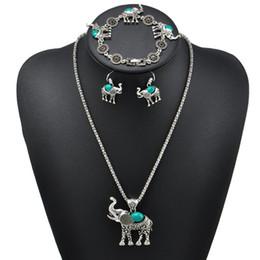 Wholesale Jade Bracelet Carving - Vintage Elephant Shape Carved Three - Piece Suit Jewelry Bohemian Jewelry Women Necklace Earrings Bracelet Sets 368820