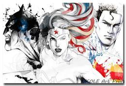 "Wholesale Batman Sheets - 2016 Batman VS Superman - Dawn Of Justice Movie Art Silk Fabric Poster 24x36"" Superhero Pictures Wonder Woman"