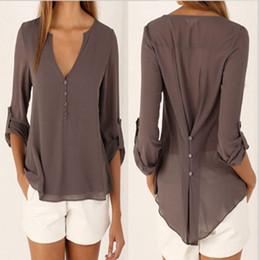 Wholesale Chiffon Blue Loose Blouse - Sexy Womens V-neck T Shirt OL Tops Blouse Chiffon Casual Long Sleeve Plus Size Loose Vestidos femininos