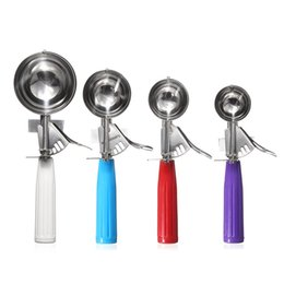 Wholesale Cookie Ice - Wholesale- 4 Colors Cream Spoon Useful Stainless steel Ice Cream Scoop Cookies Dough Disher Spoon Potato Masher Watermelon Spoon