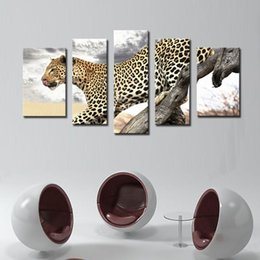 Wholesale Leopard Canvas Wall Art - 5 Picture Combination Wall Art Leopard Stand On Dry Wood Painting Pictures Print On Canvas Animal For Home Modern Decoration