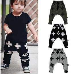 Wholesale winter harem - 2016 Boys Harem Pants Cross Baby Girls Leggings Winter Autumn Boots Pants Children Sport Pant Hot Fashion Boy Clothes Outerwear