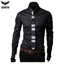 Wholesale Long Sleeve Red Formal For Men - Wholesale-Camisas Social Masculinas 2016 New Obscure Grid Shirt Plaid Shirts For Men Long Sleeve Business Formal Shirt Large Size M- 5XL
